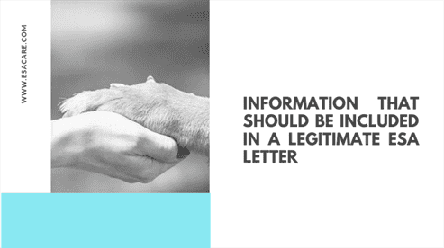 Information That Should Be Included in a Legitimate ESA Letter
